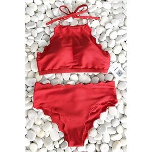 NEW Cupshe Red Scalloped Halter Bikini Size Large